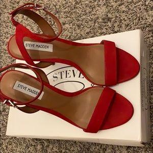 Red Nubuck Steve Madden heels